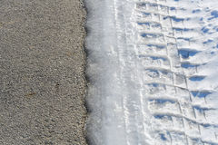 Tire tracks on icy road - asphalt vs icy road Stock Photography