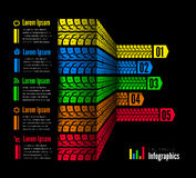 Tire tracks infographics background. Vector illustration on black Royalty Free Stock Photos