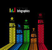 Tire tracks infographics background. Vector illustration on black Royalty Free Stock Photo