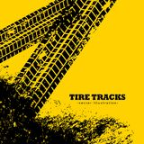 Tire tracks marks on grunge yellow background. Vector Royalty Free Stock Images