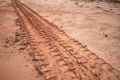 Tire tracks on a muddy road Royalty Free Stock Photo