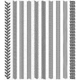 Tire tracks patterns. A set of detailed tire tread Royalty Free Stock Photo