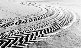 Tire tracks prints in beach sand Stock Photography