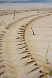 Tire Tracks Prints in Sand on a Beach Royalty Free Stock Photography