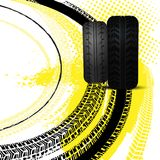 Grunge Racing Background. Tire tracks prints texture. Off-road grunge background. Editable vector illustration useful for automotive poster or leaflet design royalty free illustration