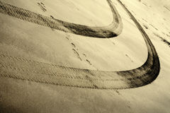 Tire Tracks in the Sand Royalty Free Stock Images