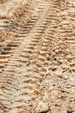 Tire tracks in sand Royalty Free Stock Photo