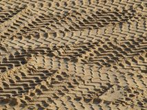 Tire tracks in the sand. South Bohemia, Czech Republic Stock Images