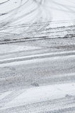 Tire tracks in the snow Royalty Free Stock Image