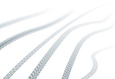 Tire tracks on snow. Vector illustration of tire tracks on snow Royalty Free Stock Photos