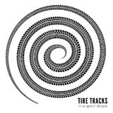Tire tracks. In spiral shape. Vector illustration on white background Royalty Free Stock Photography