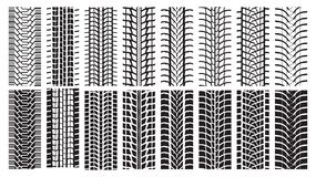 Tire Tracks, trace of the wheel. A set of detailed tire prints. Eight tracks white and eight black Stock Photos