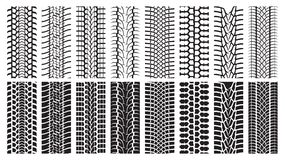 Tire Tracks, trace of the wheel. A set of detailed tire prints. Eight tracks white and eight black Royalty Free Stock Images