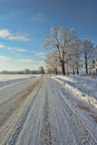 Tire Tracks. A two lane country road with tire tracks Royalty Free Stock Photography