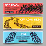 Tire tracks vector banners set Royalty Free Stock Images