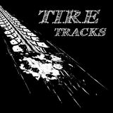 Tire tracks. Vector illustration on black background Stock Photography