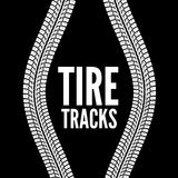 Tire tracks. Vector illustration on black background Royalty Free Stock Image
