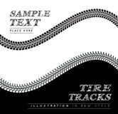 Tire tracks. Vector illustration in black and white style Royalty Free Stock Image