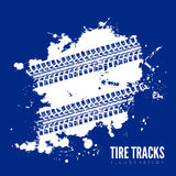 Tire tracks. Vector illustration on blue background Royalty Free Stock Photography