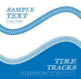Tire tracks. Vector illustration on blue and white background Royalty Free Stock Image