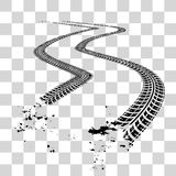 Tire tracks. Vector illustration on checkered background Royalty Free Stock Photos