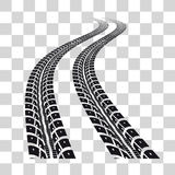 Tire tracks. Vector illustration on checkered background Stock Images