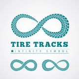 Tire tracks. Vector illustration on grey background Royalty Free Stock Photography