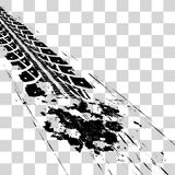 Tire tracks. Vector illustration onon checkered background Stock Images