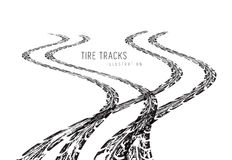 Tire tracks vector. Tire tracks. Vector illustration on white background Stock Image