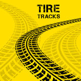 Tire tracks. Vector illustration on yellow background Stock Photography