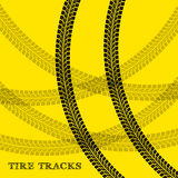 Tire tracks. Vector illustration on yellow background Stock Images