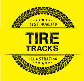 Tire tracks. Vector illustration on yellow background Stock Image