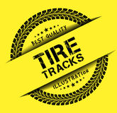 Tire tracks. Vector illustration on yellow background Royalty Free Stock Photography