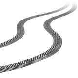 Tire tracks, white background. Tire tracks leading far away. Vector illustration on white background Stock Photography
