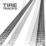 Tire tracks on white & text Royalty Free Stock Images