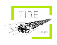 Tire tracks on white Royalty Free Stock Image