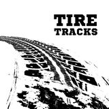 Tire tracks on white. Tire tracks. Vector illustration on white background Stock Photo