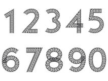 Tire tread number set. From 1 to 9 including 0 Royalty Free Stock Photo