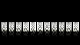 Tire Treads. On a row of tires Royalty Free Stock Image