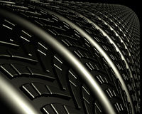 Tire and Treads. Row or tire treads close-up and glossy Royalty Free Stock Photography