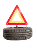 Tire and triangle Royalty Free Stock Photo