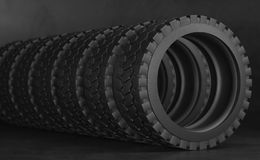 Tire for truck or tractor. Group black tires, on black background. 3d illustration. Tire for truck or tractor. Group black tires, on black background. 3d stock photo