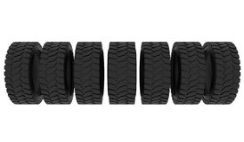 Tire for truck or tractor. Group black tires, isolated on white background. 3d illustration. Tire for truck or tractor. Group black tires, isolated on white royalty free stock photos