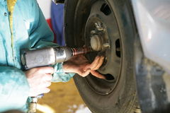 Tire tyre change Royalty Free Stock Photos