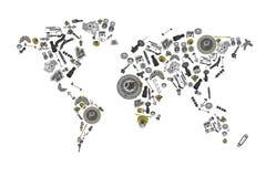 Tire um mapa do mundo composto das peças sobresselentes ilustração stock
