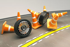 Tire with Under Construction COne. Illustration of 3d image of rolling tire with cone Stock Photos
