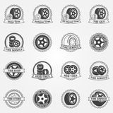 Tire vector emblems or labels Royalty Free Stock Photo