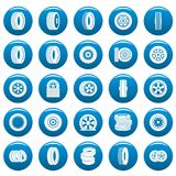 Tire vector icons set blue, simple style. Tire icons set blue. Simple illustration of 25 tire vector icons for web Royalty Free Stock Photo