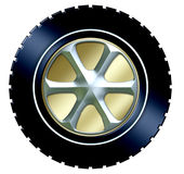 Tire w/hubcap. A graphic of a tire with metal hubcap royalty free illustration