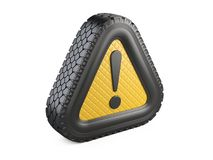 From tire warning attention sign with exclamation mark symbol. Stock Images